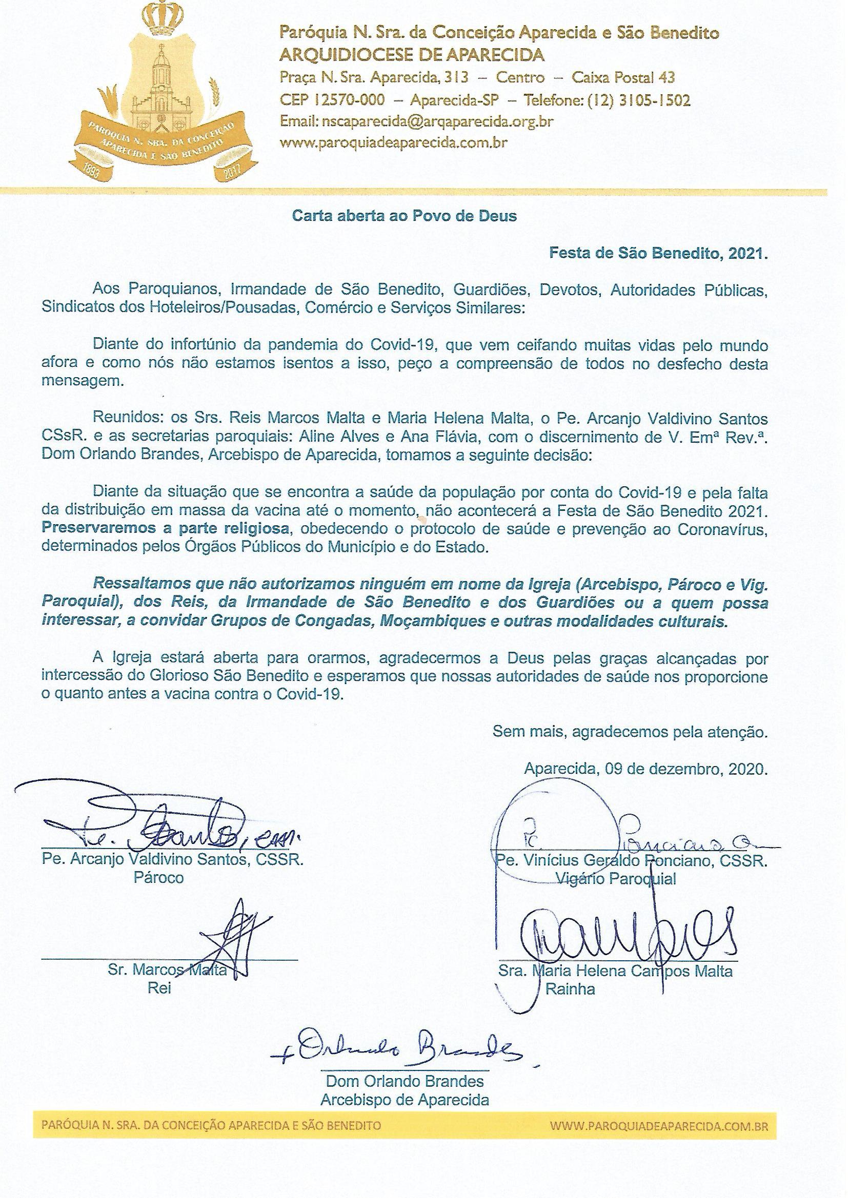 Carta São Benedito foto